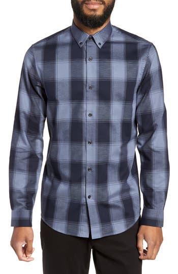 Calibrate Slim Fit Mini Collar Buffalo Check Flannel Sport Shirt