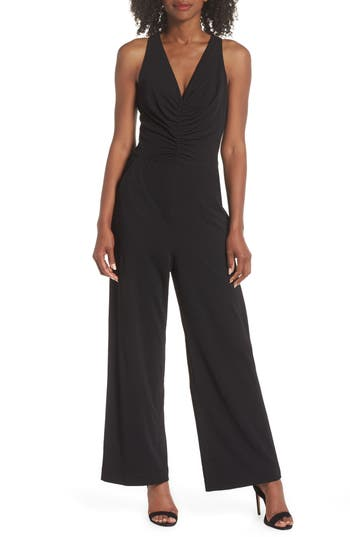 SHIRRED CREPE JUMPSUIT