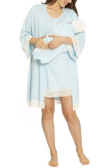 Angel Maternity Ruby Maternity/Nursing Sleep Shirt, Robe & Baby Blanket Set