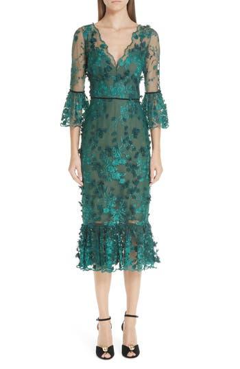Marchesa Notte Embroidered Ruffle Trim Sheath Dress