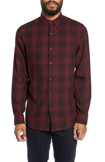 Calibrate Slim Fit Mini Collar Check Flannel Sport Shirt