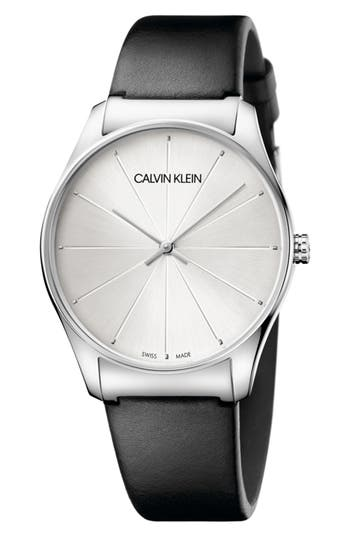 Calvin Klein Classic Leather Strap Watch, 38mm