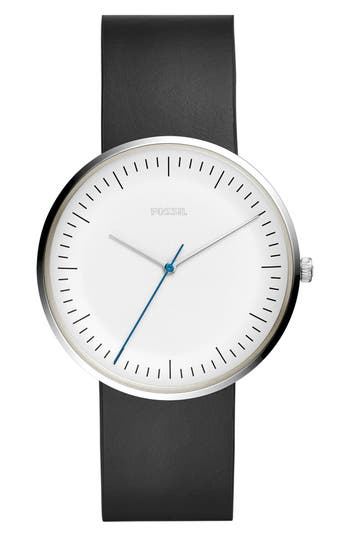 Fossil Essentialist Leather Strap Watch, 42mm