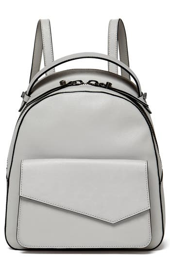 COBBLE HILL CALFSKIN LEATHER BACKPACK - GREY