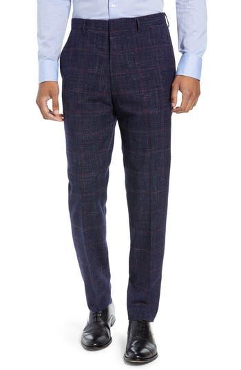 BOSS Pirko Flat Front Plaid Wool Blend Trousers