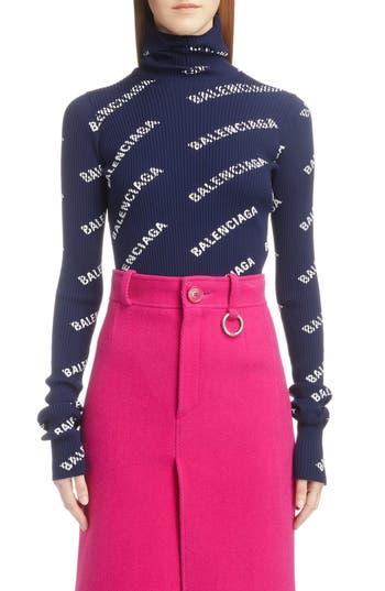Balenciaga Logo Ribbed Turtleneck Sweater