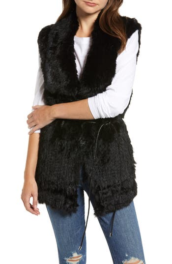 Love Token Longline Genuine Rabbit Fur Vest