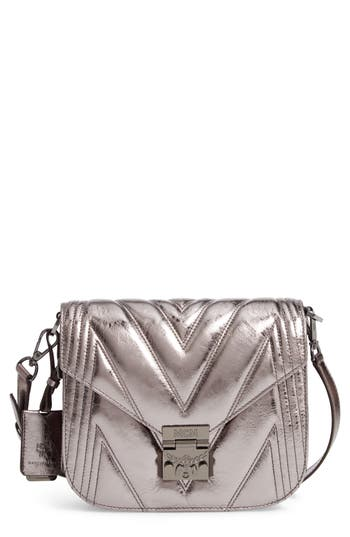 MCM Patricia Quilted Metallic Leather Saddle Bag