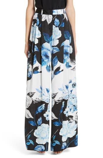 Off-White Floral Wide Leg Silk Pants