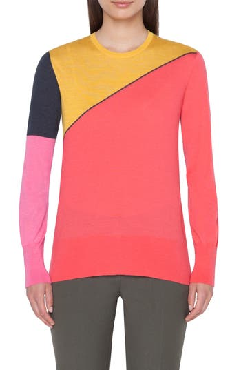 Akris Sunrise Print Cashmere & Silk Sweater