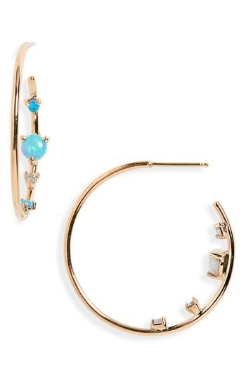 WWAKE Opal & Diamond Inverted Hoop Earrings