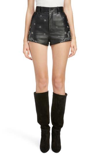 Saint Laurent Embellished Paisley Leather Shorts