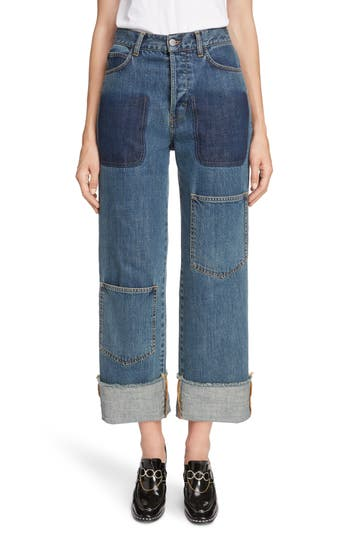 JW Anderson Shaded Pocket Wide Leg Ankle Jeans