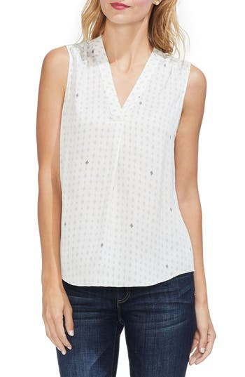 Vince Camuto Geo Print Pleat Front Blouse