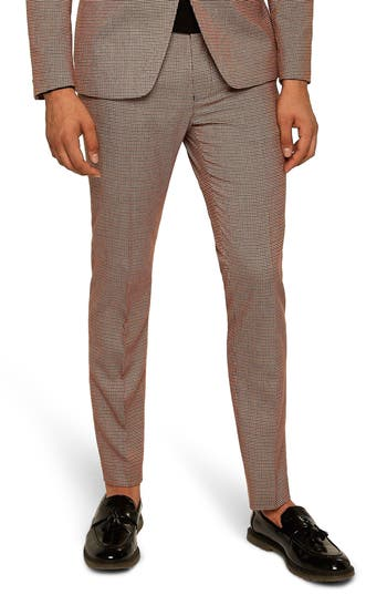 Topman Houndstooth Skinny Fit Trousers