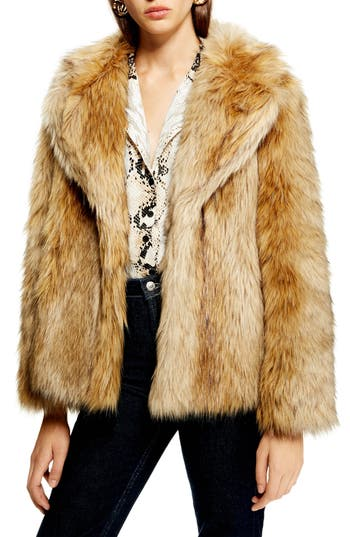 Topshop Camille Hooded Faux Fur Coat