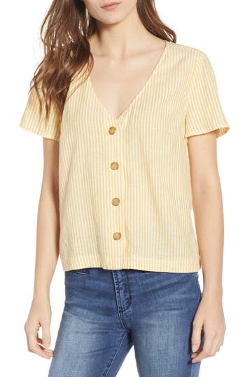 BP. Button Front Linen Blend Top