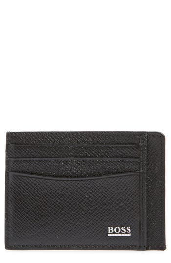 BOSS Embossed Leather Card Case