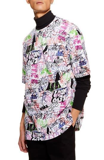 Topman Oversize Scribble Print T-Shirt