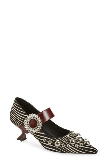 Jeffrey Campbell Otelia Embellished Genuine Calf Hair Mary Jane Pump