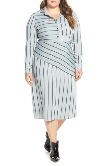 LOST INK Mix Stripe Button-Up Dress