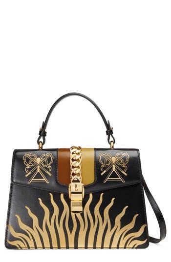 Gucci Medium Sylvie Top Handle Leather Bag