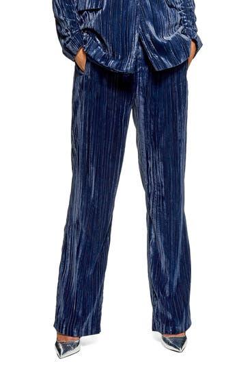 Topshop Crinkled Velvet Trousers