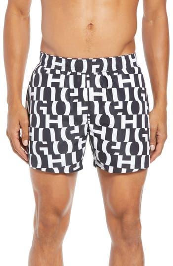 HUGO Grenada Regular Fit Logo Print Swim Shorts