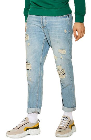 Topman Original Fit Ripped Jeans