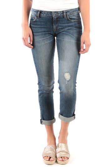 KUT from the Kloth Catherine Distressed Roll Hem Crop Boyfriend Jeans