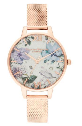 Olivia Burton Bejeweled Floral Mesh Strap Watch, 34mm