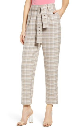 J.O.A. Check Print Straight Leg Trousers