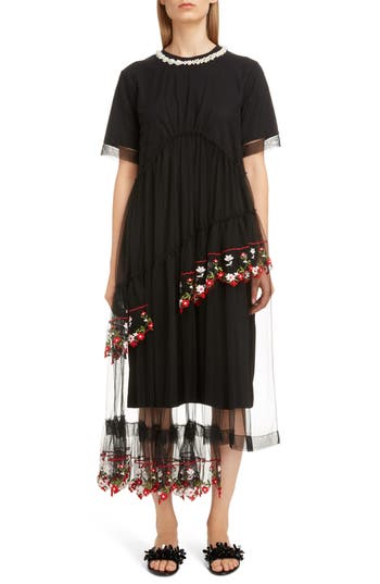Simone Rocha Imitation Pearl Embellished Layered Tulle T-Shirt Dress