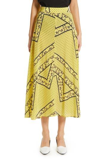 Ganni Paisley & Floral Print A-Line Midi Skirt