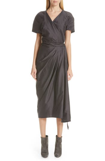 Rick Owens Limo Cotton & Silk Wrap Dress