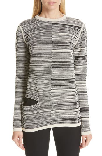 Rick Owens Split Stripe Shred Detail Cotton Blend Sweater