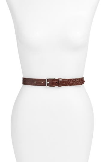 Something Navy Croc Embossed Stitch Faux Leather Belt