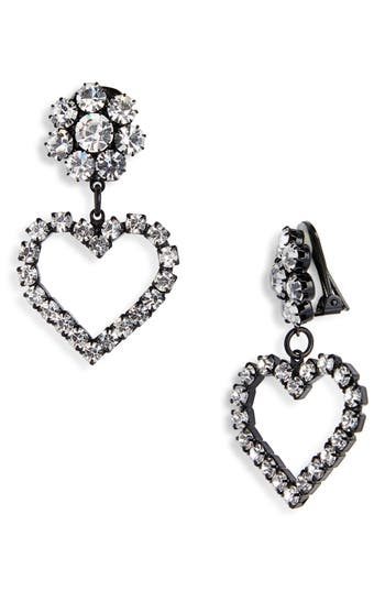 Ashley Williams Flower & Heart Clip On Earrings