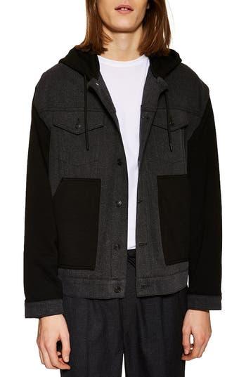 Topman Colorblock Hooded Knit Jacket