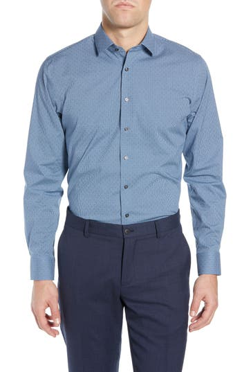 Calibrate Trim Fit Non-Iron Stretch Check Dress Shirt