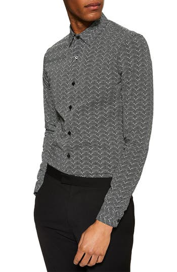 Topman Stretch Skinny Fit Ditsy Dot Print Shirt