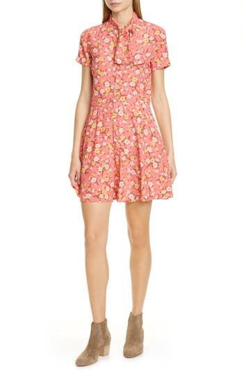 Polo Ralph Lauren Floral Tie Neck Fit & Flare Dress