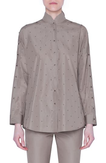 Akris punto Stud Detail Cotton Shirt