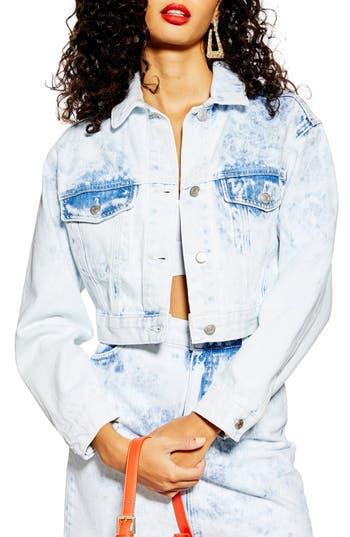 Topshop Acid Wash Cutoff Denim Jacket (Bleach Blue)