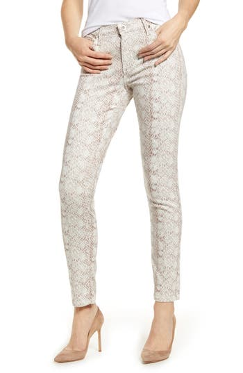 AG The Prima Ankle Cigarette Jeans (Silk Python Ivory Dust)