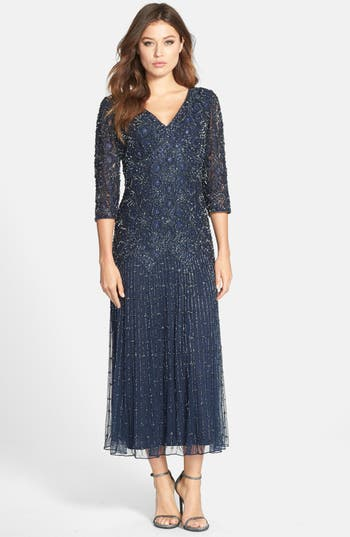 Pisarro Nights Beaded Mesh Dress, Blue