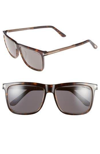 Women's Tom Ford 'Karlie' 57Mm Retro Sunglasses - Dark Havana/ Gold