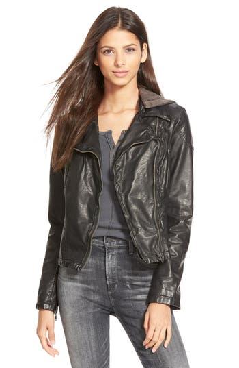 Women's Free People Hooded Faux Leather Moto Jacket
