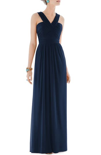 Alfred Sung Shirred Chiffon V-Neck Gown, Blue