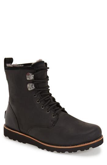 UGG® Hannen Plain Toe Waterproof Boot with Genuine Shearling